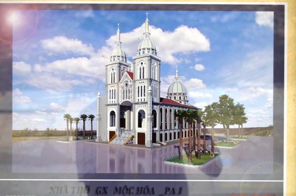 nhà thờ mộc hóa, giàn giáo trần gia